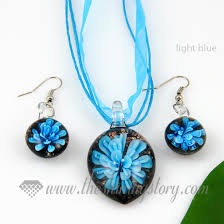 glass flower necklace images Flower olive venetian murano glass pendants and earrings jewelry jpg