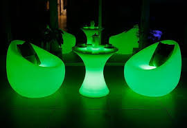 plastic chargeable cordless lighted led coffee table outdoor color