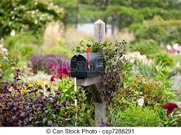 Mailbox Flower Bed Stock Photography Of Us Mailbox With Flag Raised In Flowers