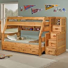 Bedroom  Bunk Beds With Stairs Twin Over Full Compact Concrete - Twin over full bunk beds with stairs