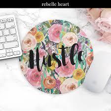 Floral Desk Accessories Mouse Pad Hustle Floral Office Decor Desk Accessories
