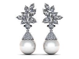 ear rings diamonds images 14k white gold diamond white pearl cluster with cap pearl earring jpg