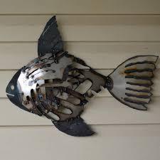 recycled metal fish wall art mosaic rustic fish scrap metal