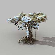 3d model snow tree populus cgtrader