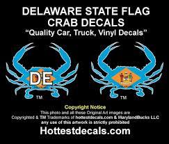 Deleware Flag Delaware Blue Crab Decal Delaware State Flag Sticker Cars Trucks