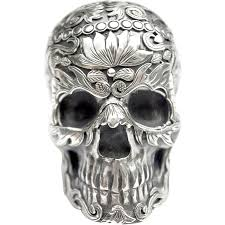 a vintage mexican silver day of the dead skull ornament www