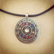 colored necklace images Zodiac wheel pendant necklace with colored stones karmacords jpg