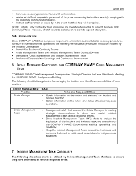 example incident management plan