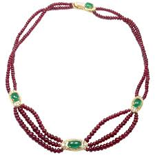 emerald ruby necklace images Van cleef and arpels ruby bead emerald diamond gold necklace at jpg