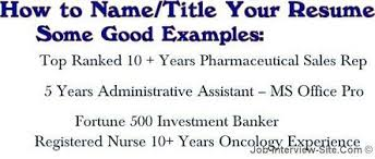 cv title examples resume name what to name your resume