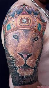 crown lion head tattoo on right half sleeve tattoo viewer com