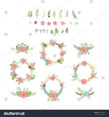Vintage Floral Frame For Invitation Wedding Baby Shower Card Vector Set Various Foliage Elements Wedding Stock Vector 553545388