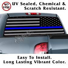 Reverse Color American Flag Blue Line Tactical American Flag Reverse Facing Back Window Graphic