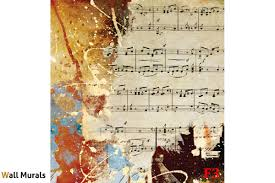mural vintage art panel with musical notes wall mural vintage art panel with musical notes