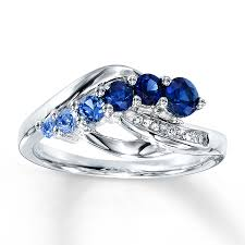 lab created engagement ring lab created sapphire ring accents sterling silver
