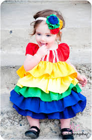 a rainbow ruffle dress for the baby