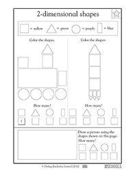 1st grade kindergarten math worksheets coloring shapes