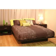 furniture queen size dark wood platform bed frame using brown and