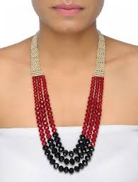 red crystal bead necklace images Buy red black crystal beaded multi string macrame necklace online jpg