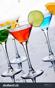 fruity cocktail drinks served martini glasses stock photo 59012623