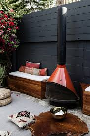 diy outdoor patio seating with stovepipe fireplace home design