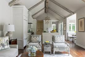 remodeled white kitchen with vaulted ceiling beams home bunch
