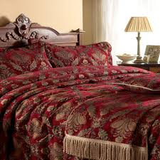 stunning red gold tapestry chenille throw bedspread throws