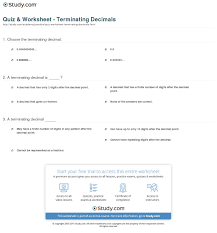 quiz u0026 worksheet terminating decimals study com