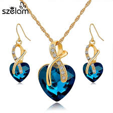 wedding accessories szelam 2016 heart necklace earrings jewellery set for