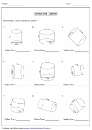 surface area of a cylinder worksheet free worksheets library