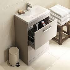 auriga stone grey 600mm floor standing bathroom cabinet u0026 basin