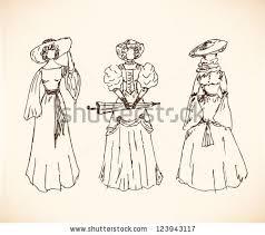 set sketches women retro clothes ladies stock vector 120872923