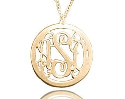 Circle Monogram Necklace 14k Gold Monogram