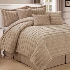 Fur Bed Set Serenta Rabbit Faux Fur 7 Piece Comforter Set
