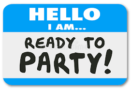 hello party hello i am ready to party name tag sticker stock illustration