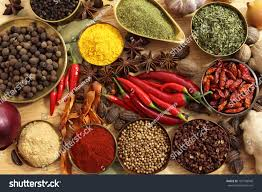 cuisine metal spices herbs metal bowls food cuisine ภาพสต อก 107738948