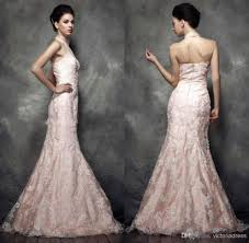 pink lace wedding dress light pink appliqued lace wedding dresses mermaid sheer halter