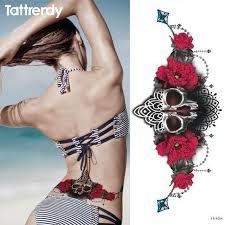 1pc new chest tattoo sticker large flower shoulder arm sternum