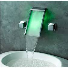 Wall Bathroom Faucet by Waterfall Wall Mount Bathroom Sink Faucet With Led Glass