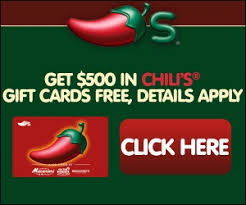 chili gift card get 500 in chili s gift cards free my freebies