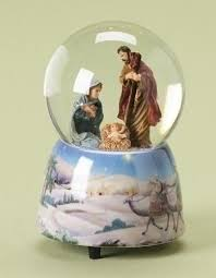 musical snow globe holy family silent glitterdome collection