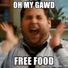 Free Food Meme - oh my gawd free food jonah hill excited meme generator
