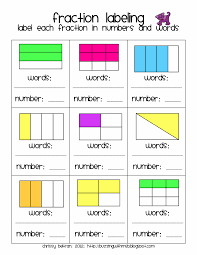 3rd Grade Fractions Worksheets Label Fractions In Words And Numbers Fractions Decimals