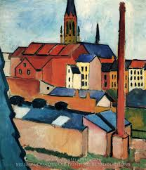 august macke st mary s with houses and chimney oil painting reion