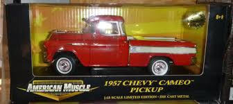 ertl american muscle 1957 chevrolet 3100 cameo truck 1 18 red
