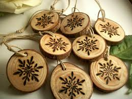 pine snowflake wood gift tags ornaments for gift wrap