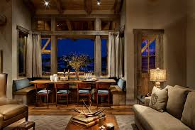 rustic window treatments dining room rustic with alcove antlers