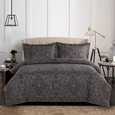 amazon com dark gray duvet cover set grey damask victorian