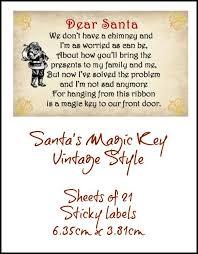 santa key christmas santa s magic key vintage style sticky label sheets