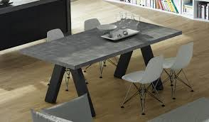 apex extending dining table concrete pure black temahome the